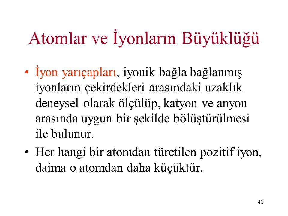 Atomlar ve İyonların Büyüklüğü