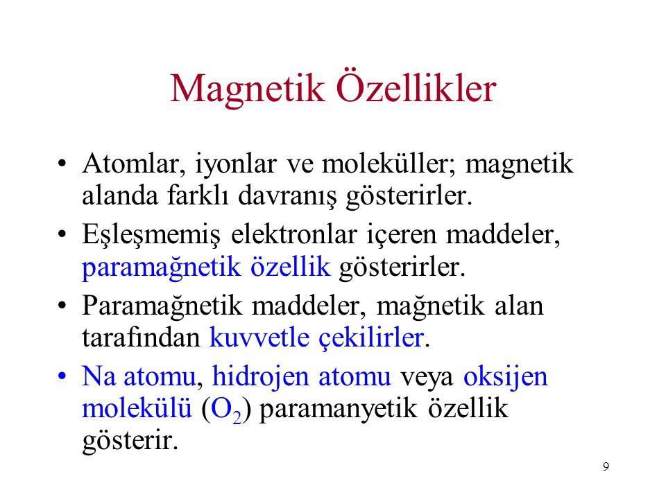 Magnetik Özellikler Atomlar, iyonlar ve moleküller; magnetik alanda farklı davranış gösterirler.