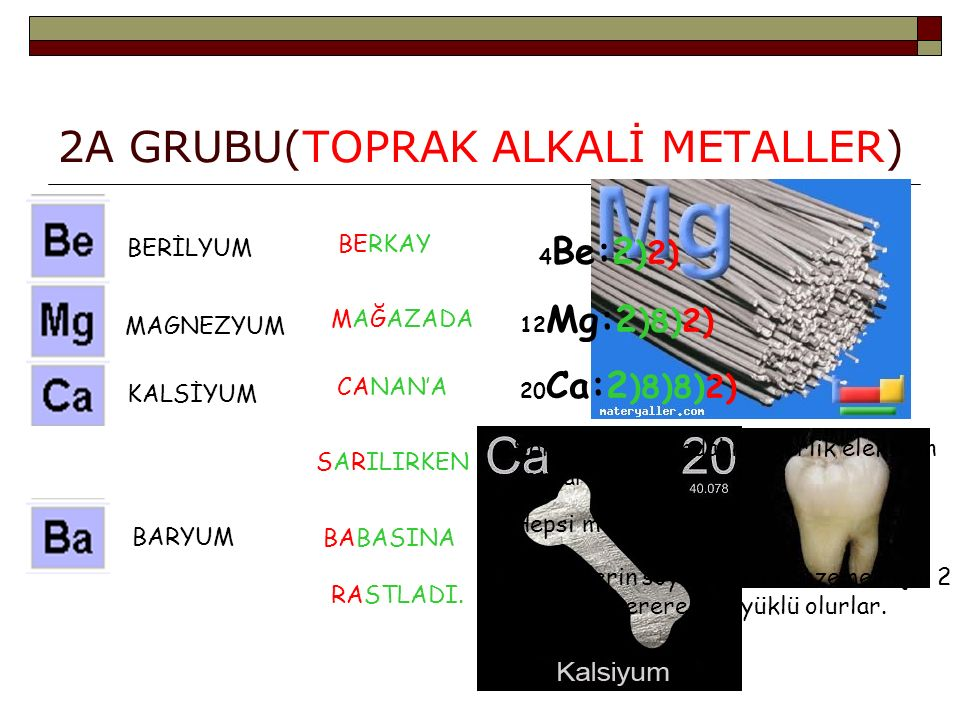 2A GRUBU(TOPRAK ALKALİ METALLER)