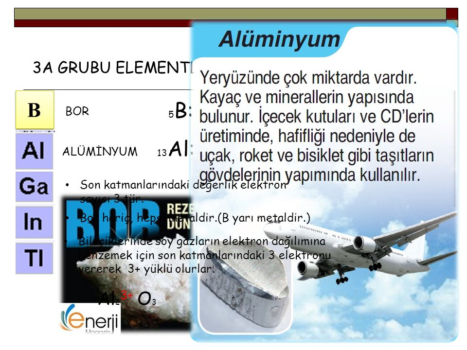 B Al23+ O3 3A GRUBU ELEMENTLERİ(TOPRAK METALLERİ) BOR ALÜMİNYUM
