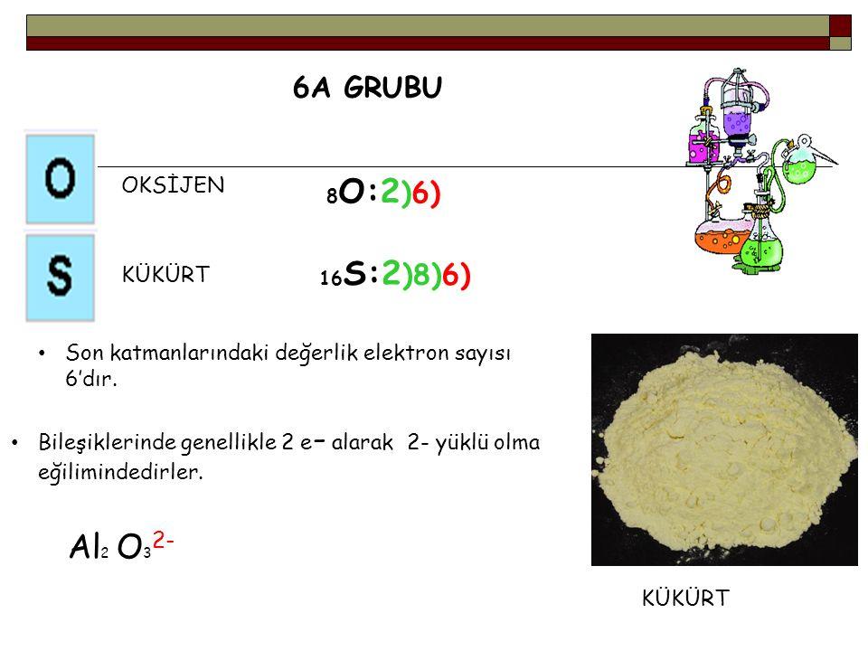 Al2 O32- 6A GRUBU OKSİJEN KÜKÜRT
