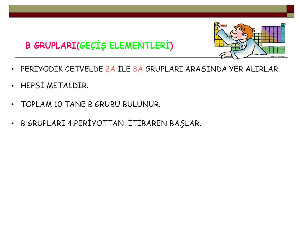 B GRUPLARI(GEÇİŞ ELEMENTLERİ)