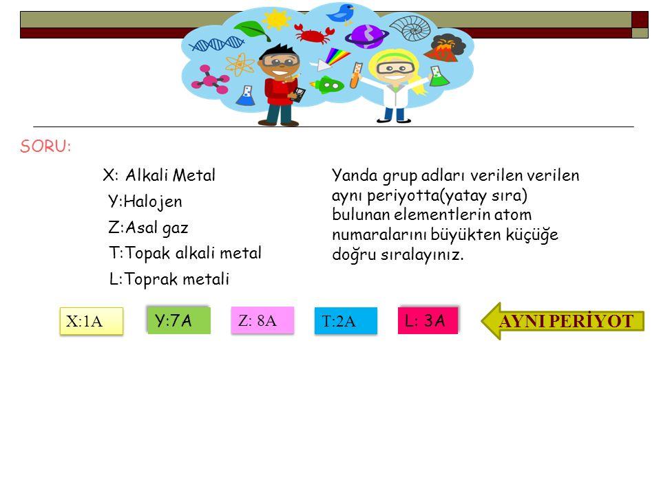 AYNI PERİYOT SORU: X: Alkali Metal