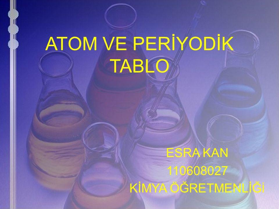 ATOM VE PERİYODİK TABLO