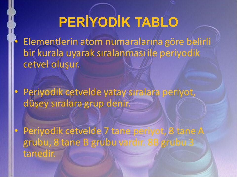 PERİYODİK TABLO Elementlerin atom numaralarına göre belirli bir kurala uyarak sıralanması ile periyodik cetvel oluşur.