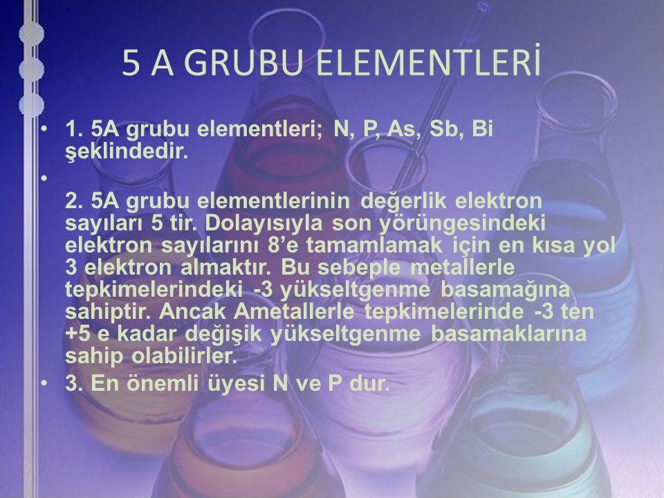 5 A GRUBU ELEMENTLERİ 1. 5A grubu elementleri; N, P, As, Sb, Bi şeklindedir.