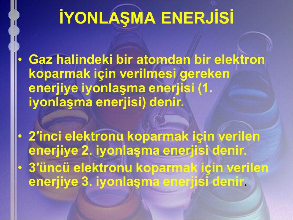 İYONLAŞMA ENERJİSİ Gaz halindeki bir atomdan bir elektron koparmak için verilmesi gereken enerjiye iyonlaşma enerjisi (1. iyonlaşma enerjisi) denir.