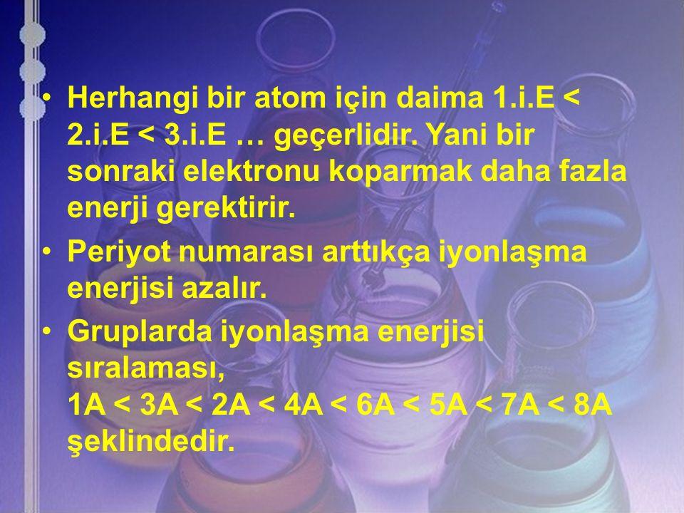 Herhangi bir atom için daima 1. i. E < 2. i. E < 3. i
