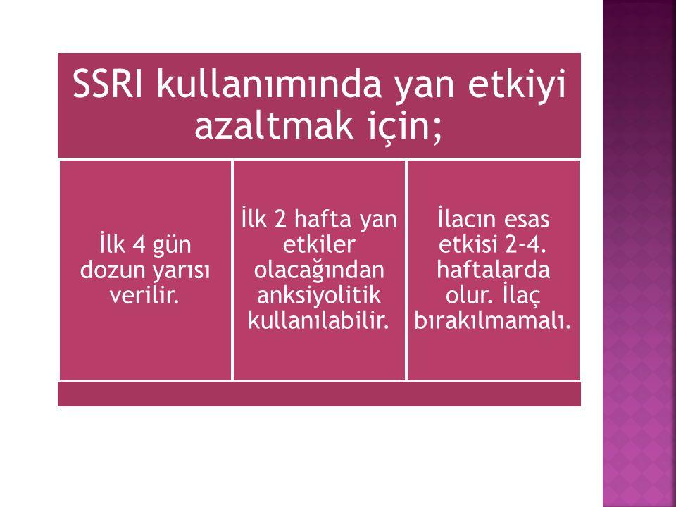 SSRI kullanımında yan etkiyi azaltmak için;