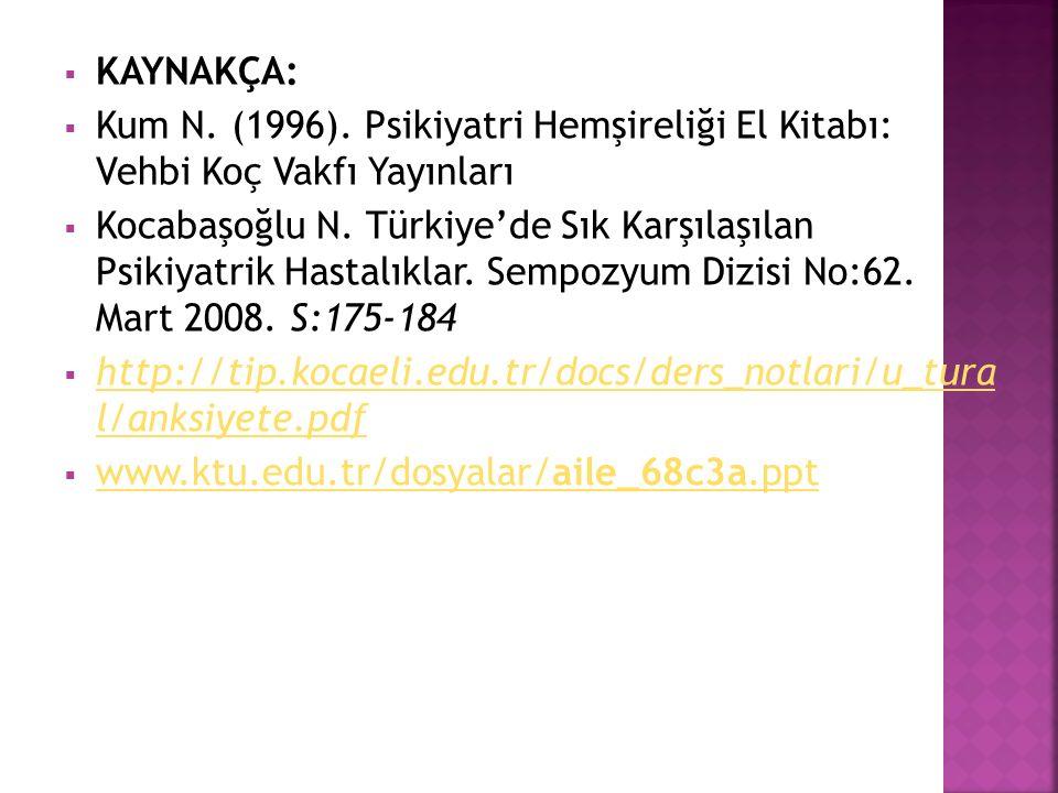 KAYNAKÇA: Kum N. (1996). Psikiyatri Hemşireliği El Kitabı: Vehbi Koç Vakfı Yayınları.