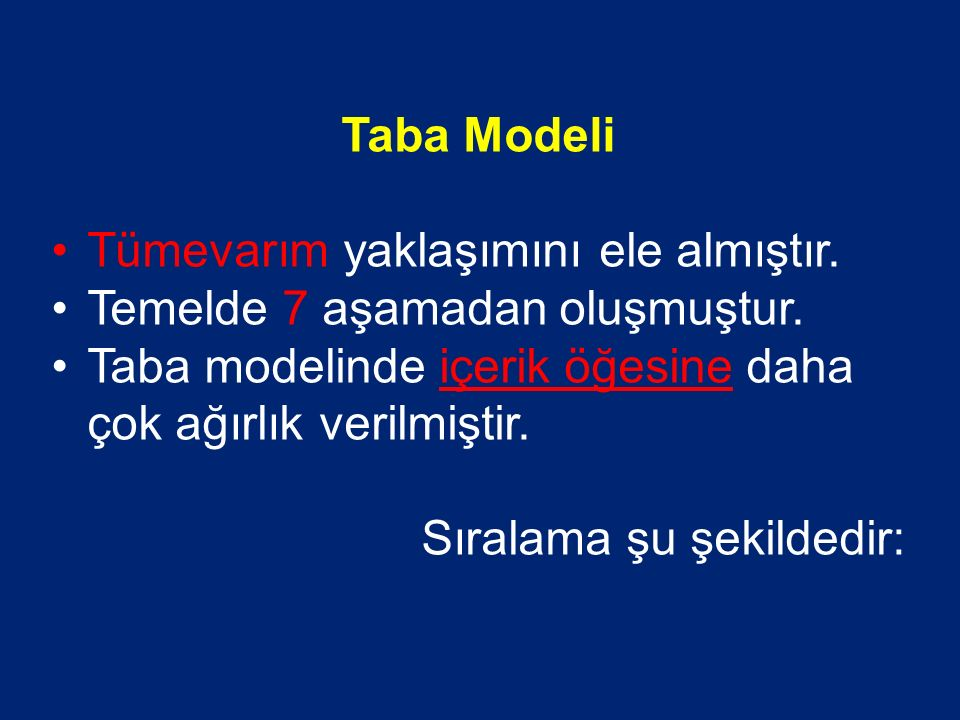 Taba Modeli Tümevarım yaklaşımını ele almıştır. Temelde 7 aşamadan oluşmuştur. Taba modelinde içerik öğesine daha çok ağırlık verilmiştir.