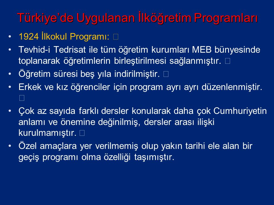 Türkiye'de Uygulanan İlköğretim Programları