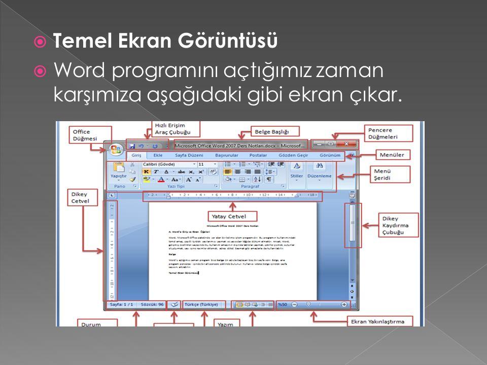 Temel Ekran Görüntüsü Word programını açtığımız zaman karşımıza aşağıdaki gibi ekran çıkar.