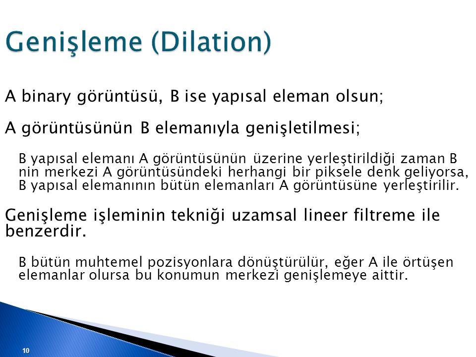 Genişleme (Dilation) A binary görüntüsü, B ise yapısal eleman olsun;