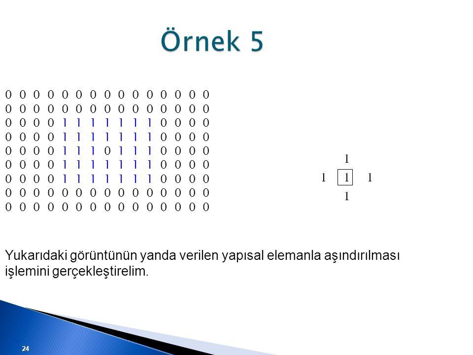Örnek 5 0 0 0 0 0 0 0 0 0 0 0 0 0 0 0. 0 0 0 0 1 1 1 1 1 1 1 0 0 0 0. 0 0 0 0 1 1 1 0 1 1 1 0 0 0 0.