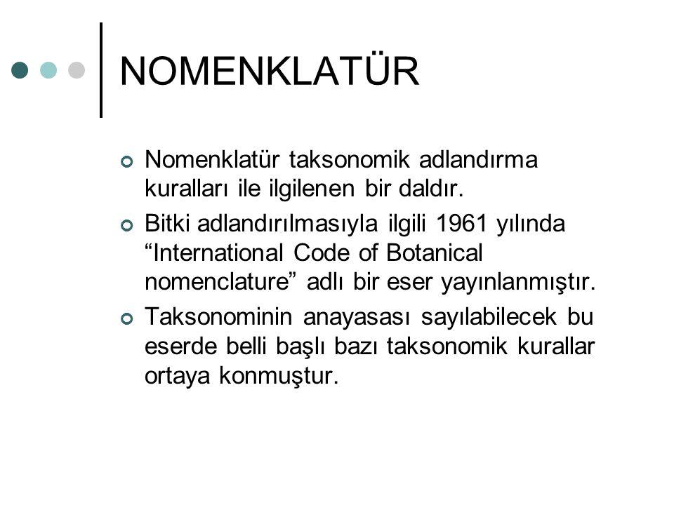 NOMENKLATÜR Nomenklatür taksonomik adlandırma kuralları ile ilgilenen bir daldır.