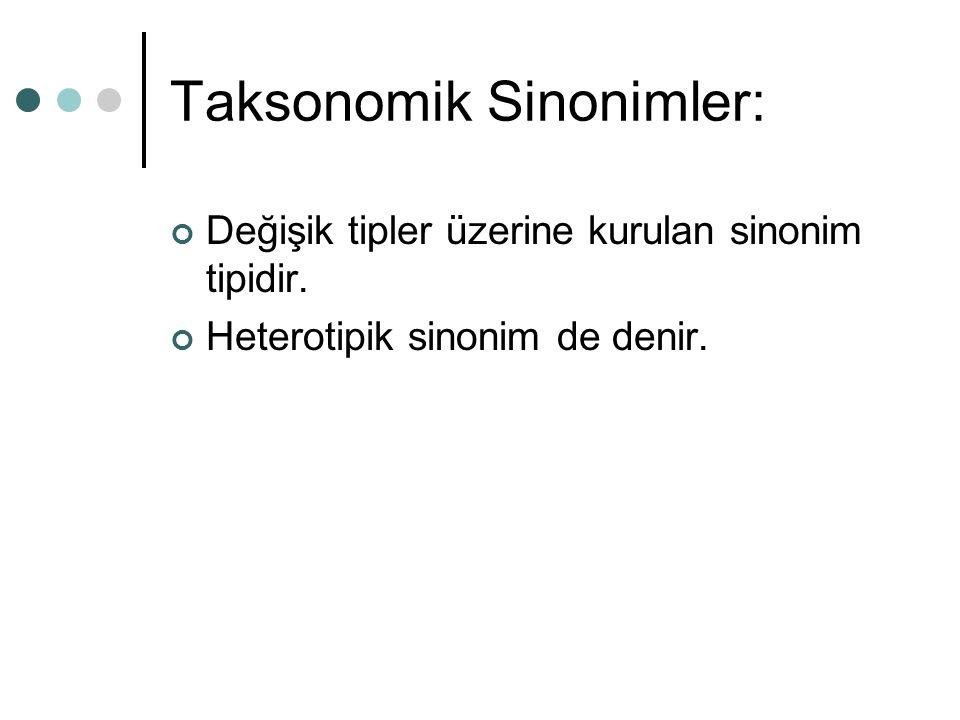 Taksonomik Sinonimler:
