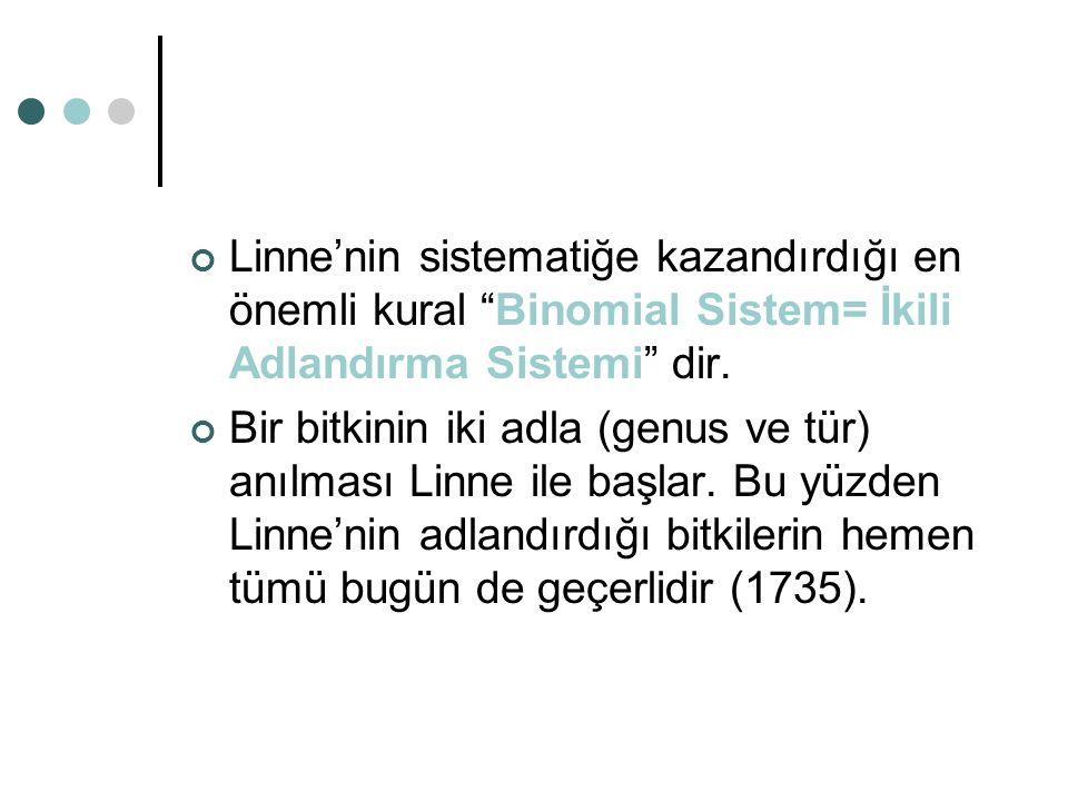 Linne'nin sistematiğe kazandırdığı en önemli kural Binomial Sistem= İkili Adlandırma Sistemi dir.
