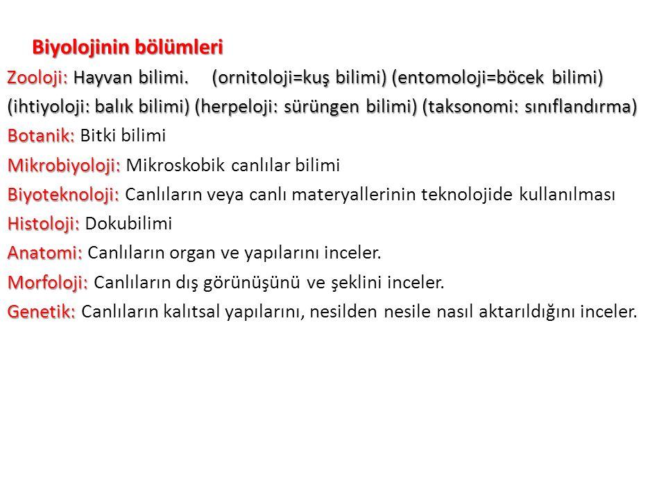 Biyolojinin bölümleri