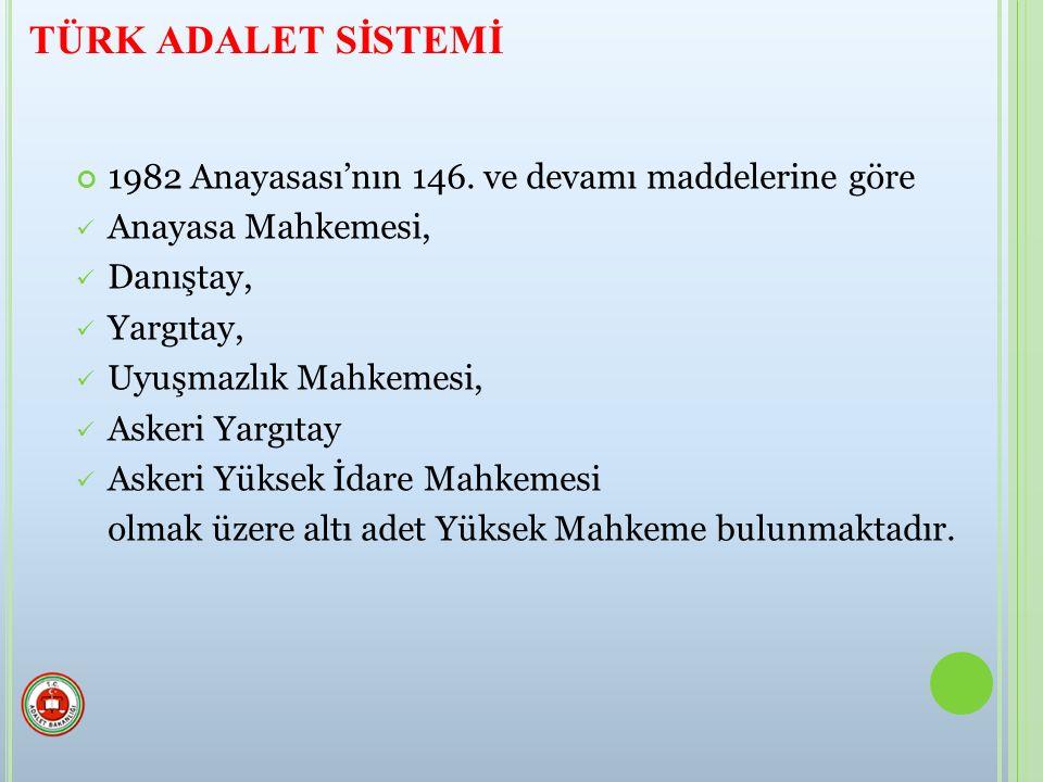 TÜRK ADALET SİSTEMİ 1982 Anayasası'nın 146. ve devamı maddelerine göre