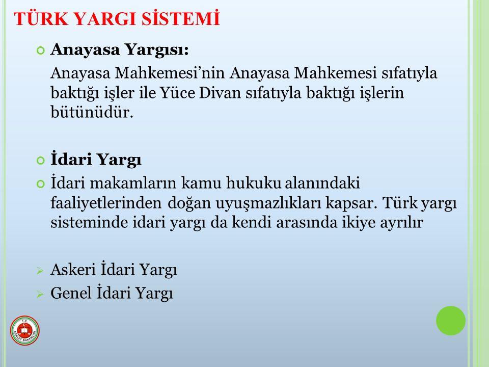 TÜRK YARGI SİSTEMİ Anayasa Yargısı:
