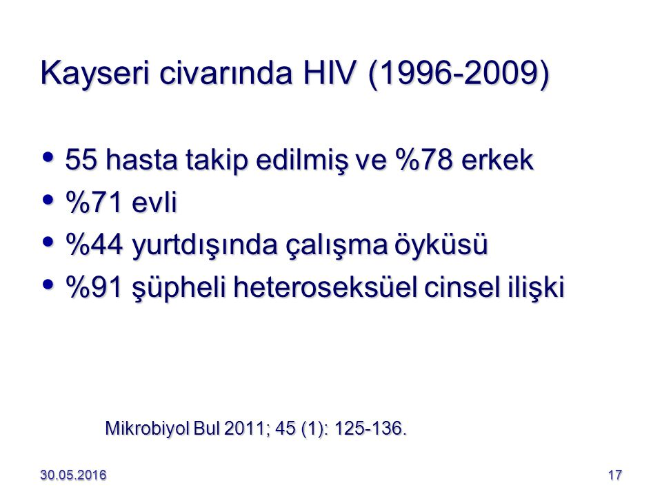 Kayseri civarında HIV (1996-2009)