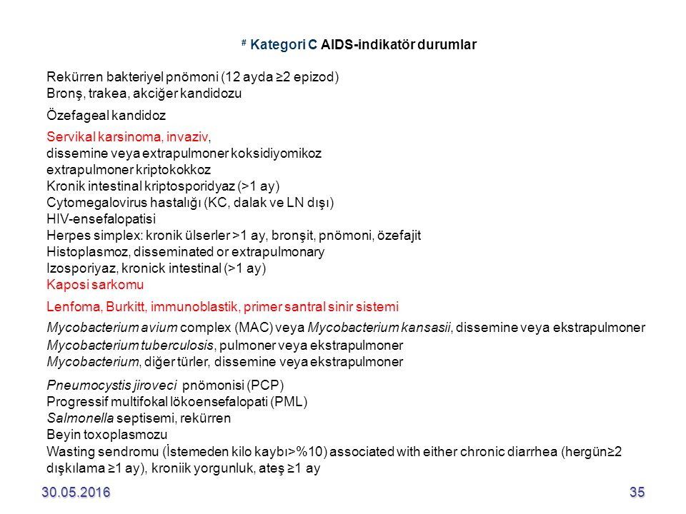 # Kategori C AIDS-indikatör durumlar