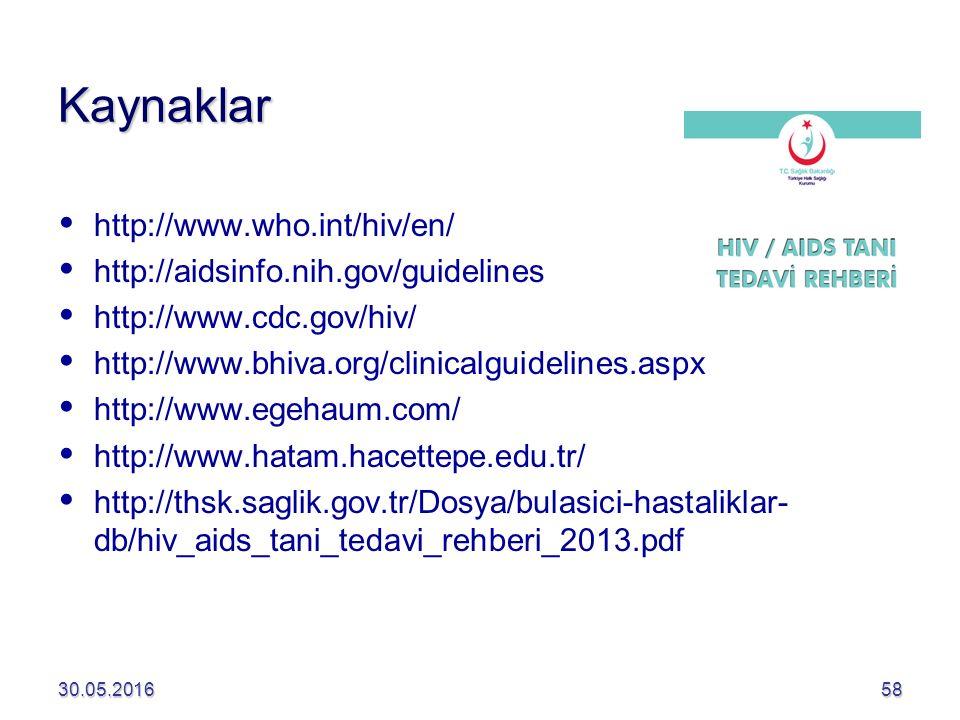 Kaynaklar http://www.who.int/hiv/en/