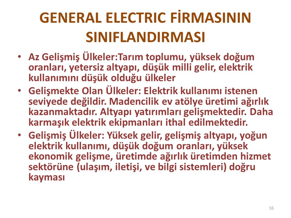 GENERAL ELECTRIC FİRMASININ SINIFLANDIRMASI