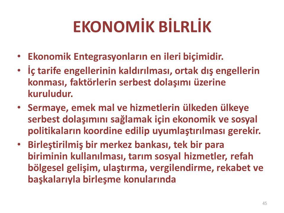 EKONOMİK BİLRLİK Ekonomik Entegrasyonların en ileri biçimidir.