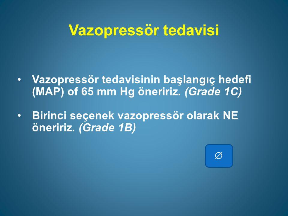 Vazopressör tedavisi Vazopressör tedavisinin başlangıç hedefi (MAP) of 65 mm Hg öneririz. (Grade 1C)