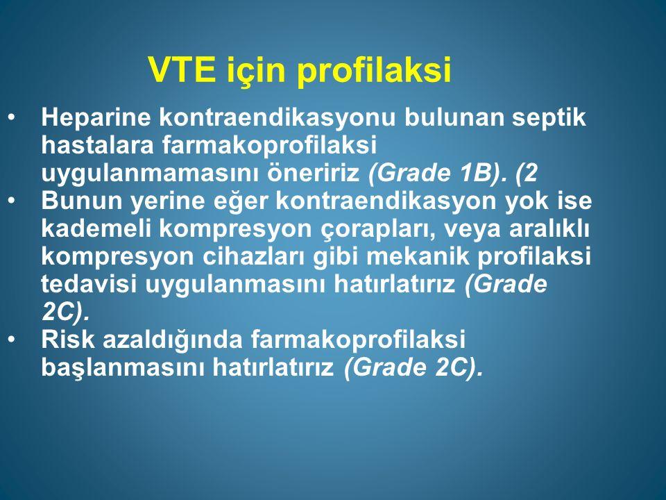 VTE için profilaksi Heparine kontraendikasyonu bulunan septik hastalara farmakoprofilaksi uygulanmamasını öneririz (Grade 1B). (2.