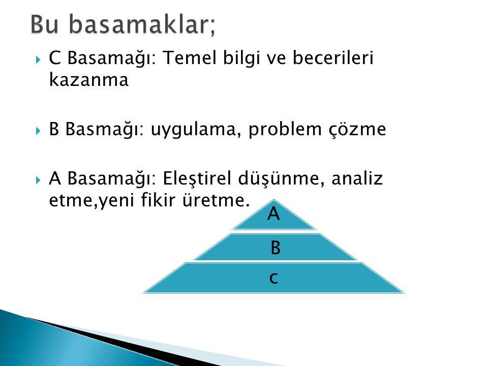 Bu basamaklar; C Basamağı: Temel bilgi ve becerileri kazanma