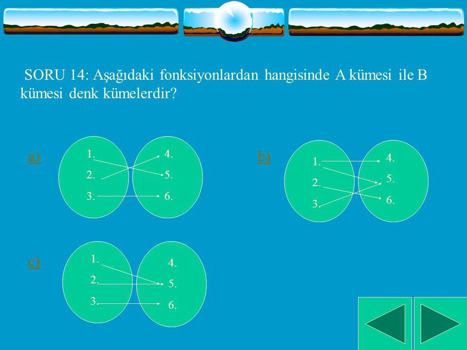 SORU 14: Aşağıdaki fonksiyonlardan hangisinde A kümesi ile B kümesi denk kümelerdir