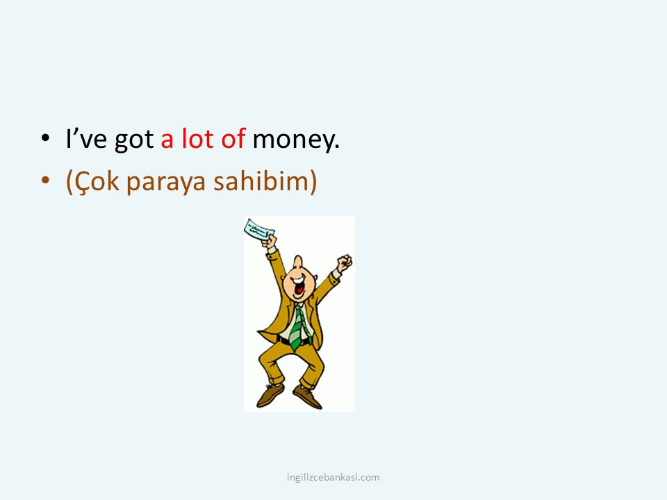 I've got a lot of money. (Çok paraya sahibim) ingilizcebankasi.com