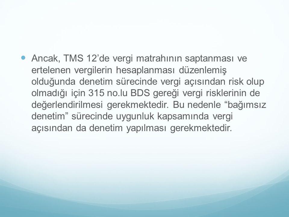 Ancak, TMS 12'de vergi matrahının saptanması ve ertelenen vergilerin hesaplanması düzenlemiş olduğunda denetim sürecinde vergi açısından risk olup olmadığı için 315 no.lu BDS gereği vergi risklerinin de değerlendirilmesi gerekmektedir.