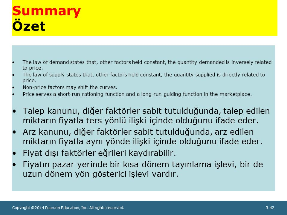 Summary Özet The law of demand states that, other factors held constant, the quantity demanded is inversely related to price.