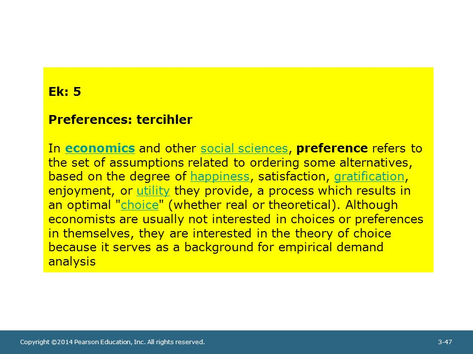 Ek: 5 Preferences: tercihler.
