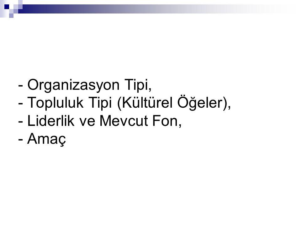 - Organizasyon Tipi, - Topluluk Tipi (Kültürel Öğeler), - Liderlik ve Mevcut Fon, - Amaç