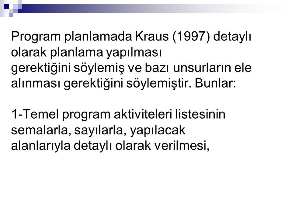 Program planlamada Kraus (1997) detaylı olarak planlama yapılması gerektiğini söylemiş ve bazı unsurların ele alınması gerektiğini söylemiştir.