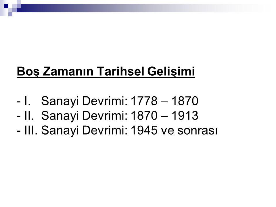 Boş Zamanın Tarihsel Gelişimi - I. Sanayi Devrimi: 1778 – 1870 - II