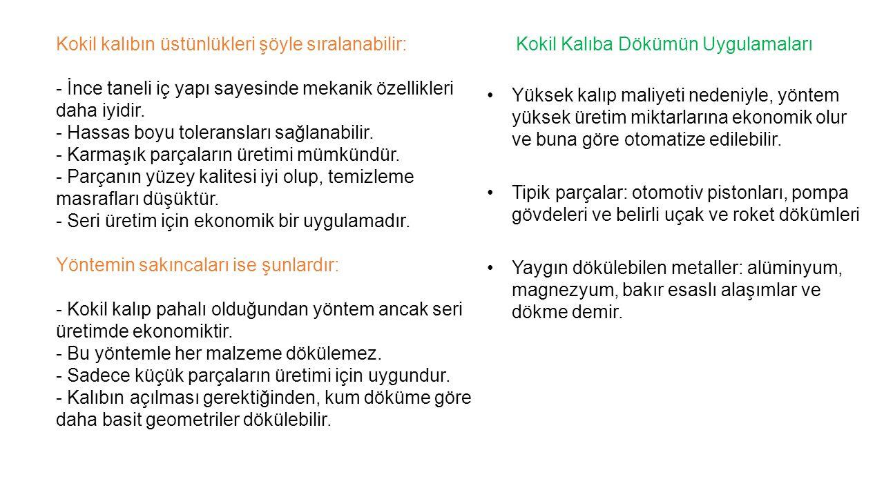 Kokil kalıbın üstünlükleri şöyle sıralanabilir: