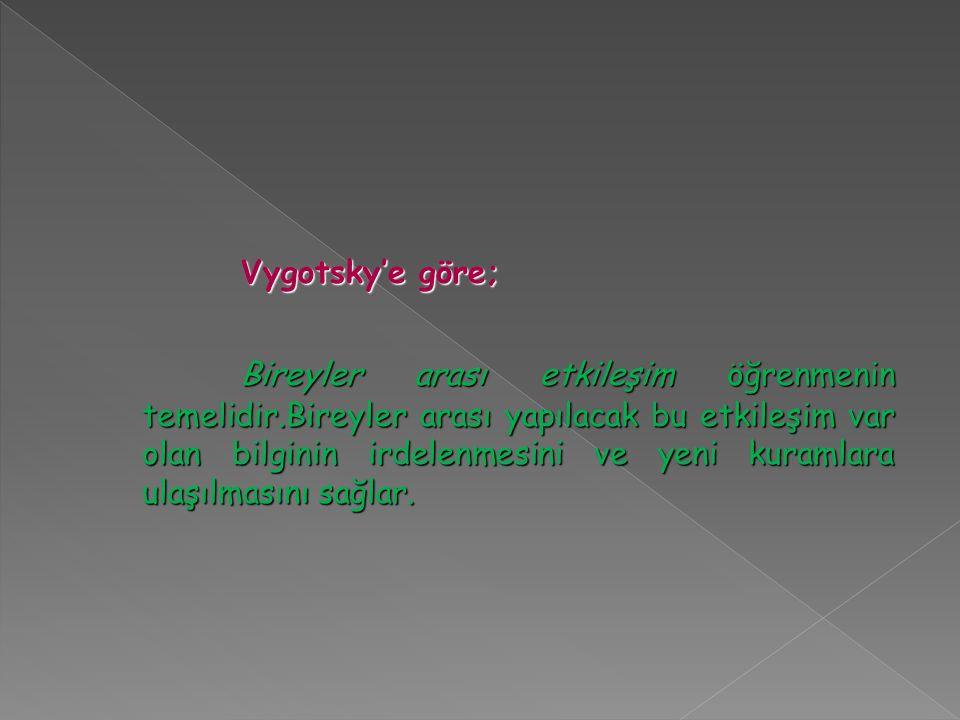 Vygotsky'e göre;
