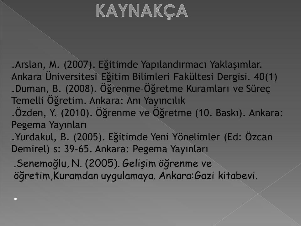 KAYNAKÇA .Arslan, M. (2007). Eğitimde Yapılandırmacı Yaklaşımlar. Ankara Üniversitesi Eğitim Bilimleri Fakültesi Dergisi. 40(1)