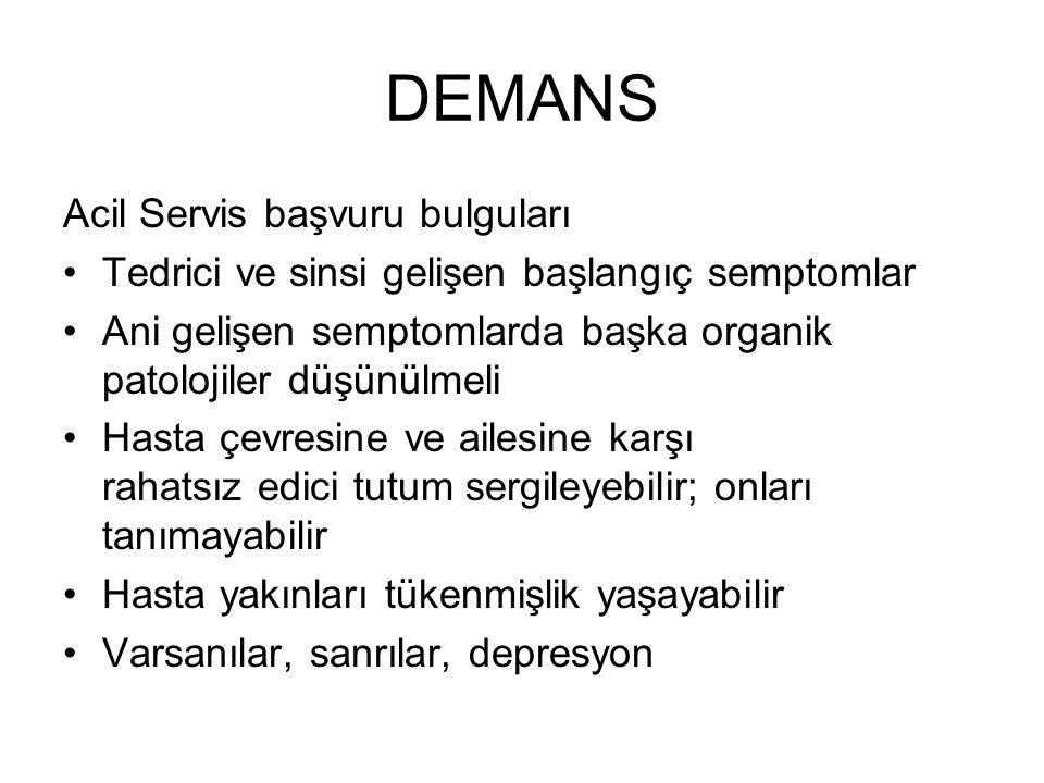 DEMANS Acil Servis başvuru bulguları