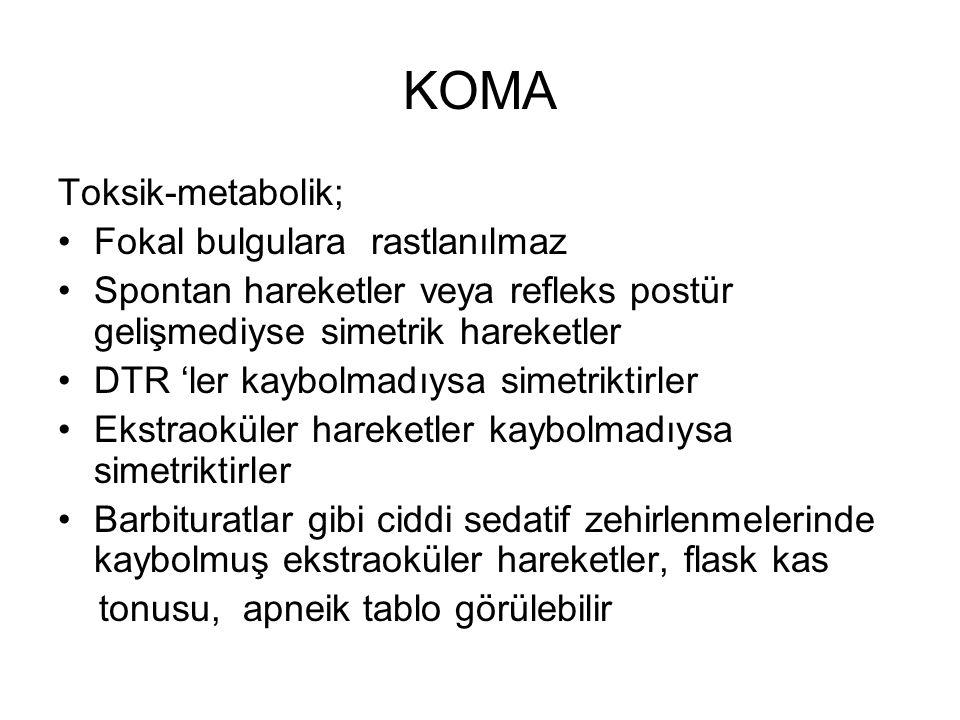 KOMA Toksik-metabolik; Fokal bulgulara rastlanılmaz