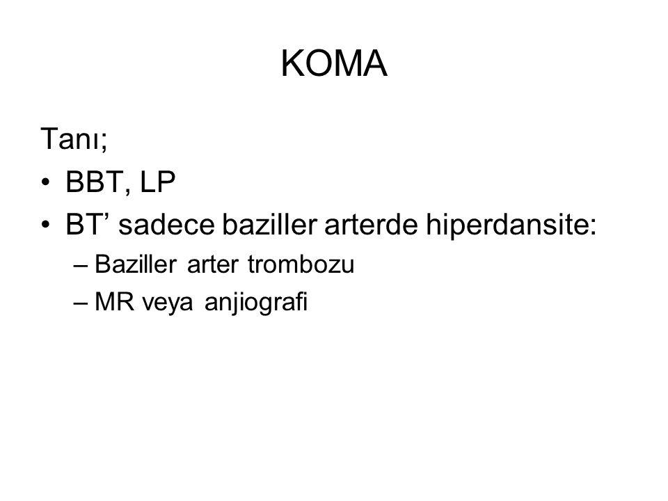 KOMA Tanı; BBT, LP BT' sadece baziller arterde hiperdansite: