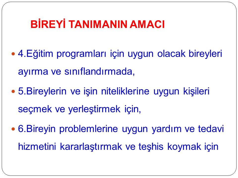 BİREYİ TANIMANIN AMACI