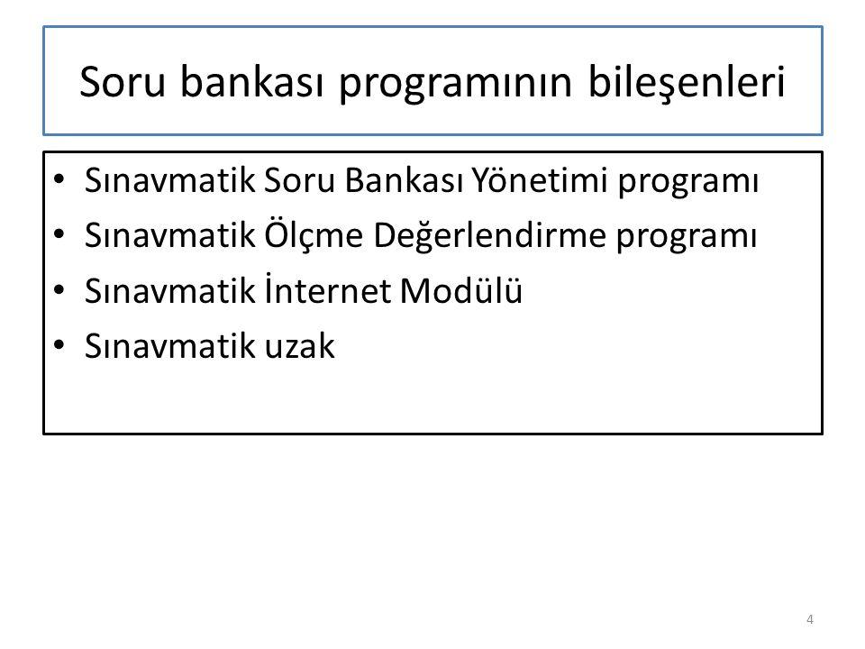 Soru bankası programının bileşenleri