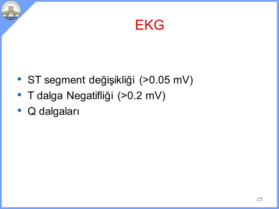 EKG ST segment değişikliği (>0.05 mV)